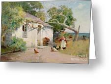 Feeding The Hens Greeting Card by Arthur Claude Strachan