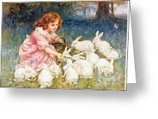 Feeding The Rabbits Greeting Card by Frederick Morgan