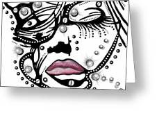 Female Abstract Face Greeting Card by Darren Cannell