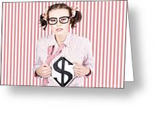 Female Business Superhero Showing Dollar Sign Greeting Card