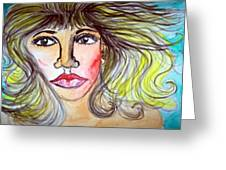 Female Face Greeting Card
