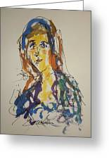 Female Face Study Bb Greeting Card