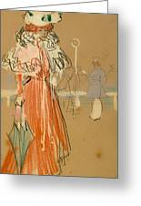 Female Figure In Red Greeting Card
