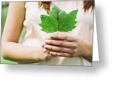 Female Hands Holding Leaf Greeting Card