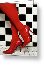 Female Legs In Red Pantyhose And Shoes On High Heels On A Background Greeting Card