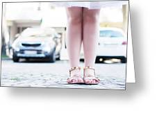 Female Legs Wearing Sandals Greeting Card