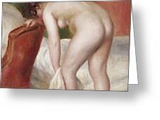 Female Nude Drying Herself Greeting Card