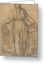 Female Saint (saint Clare Of Assisi Or Saint Catherine Of Siena?) Greeting Card