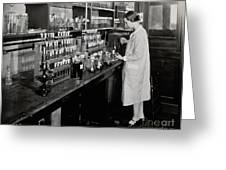 Female Scientist Conducting Experiment Greeting Card