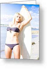 Female Surfer In Sun With Surf Board Greeting Card
