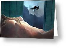 Femme Oiseau Montagne Greeting Card