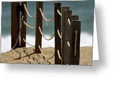 Fence Along The Beach Greeting Card