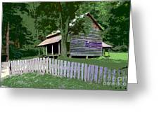 Fence And Cabin Greeting Card