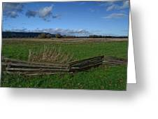 Fence And Open Field Greeting Card