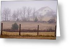 Fence Field And Fog Greeting Card