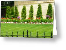 Fence Lined Garden Greeting Card