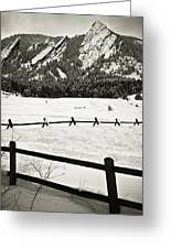 Fence Lines And Flatirons Greeting Card