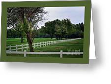 Fence On The Wooded Green Greeting Card