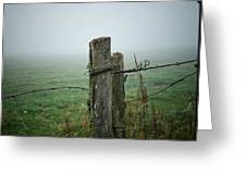 Fence Post And Fog Greeting Card