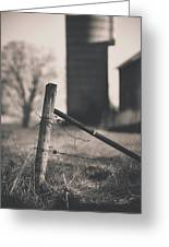 Fence Post In Black And White Greeting Card