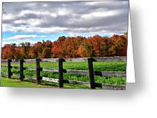 Fences, Fields And Foliage Greeting Card