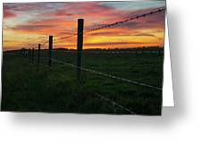 Fencline Sunset Greeting Card