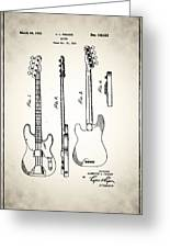 Fender Precision Bass Patent 1952 Greeting Card