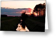 Fenland Sunset Greeting Card