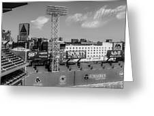 Fenway Park Green Monster Wall Bw Greeting Card