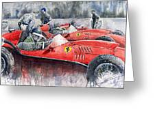 Ferrari Dino 246 F1 1958 Mike Hawthorn French Gp  Greeting Card by Yuriy Shevchuk