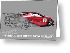 Ferrari Michelotto Race Car. Handmade Drawing. Number 9 Le Mans Greeting Card