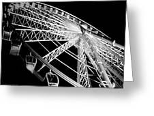 Ferris Wheel Against Black Sky Greeting Card