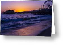 Ferris Wheel On Pier Greeting Card