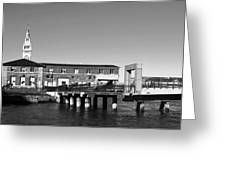 Ferry Building And Pinnacle Building - San Francisco Embarcadero - Black And White Greeting Card