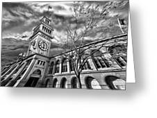 Ferry Building Black  White Greeting Card