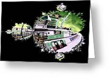 Ferry In Fractal Greeting Card