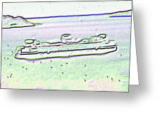 Ferry In The Rain Greeting Card