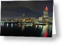 Ferry Terminal In Vancouver Bc At Night Greeting Card
