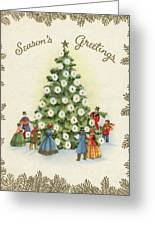 Festive Christmas Tree In A Town Square Greeting Card