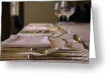Festive Table Setting For A Formal Dinner  Greeting Card
