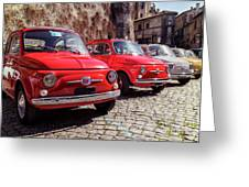 Fiat 500's In Bracciano Italy Greeting Card