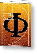 Fibonacci Spiral And Phi, Artwork Greeting Card