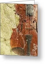 Fiddle In Grunge Style Greeting Card