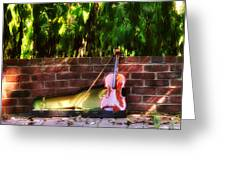 Fiddle On The Garden Wall Greeting Card