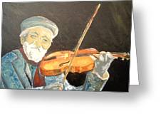 Fiddler Blue Greeting Card by J Bauer