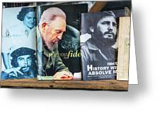 Fidel At The Used Book Sellers Market Greeting Card