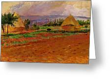 Field And Haystacks 1885 Greeting Card