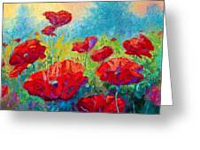 Field Of Red Poppies Greeting Card by Marion Rose