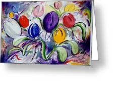 Field Of  Tulips Greeting Card