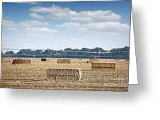 Field With Straw Bale And Center Pivot Sprinkler System Agricult Greeting Card